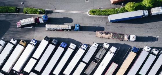 Trucks, bird's eye view