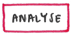 Hand-drawn label: red box containing the word Analyse.