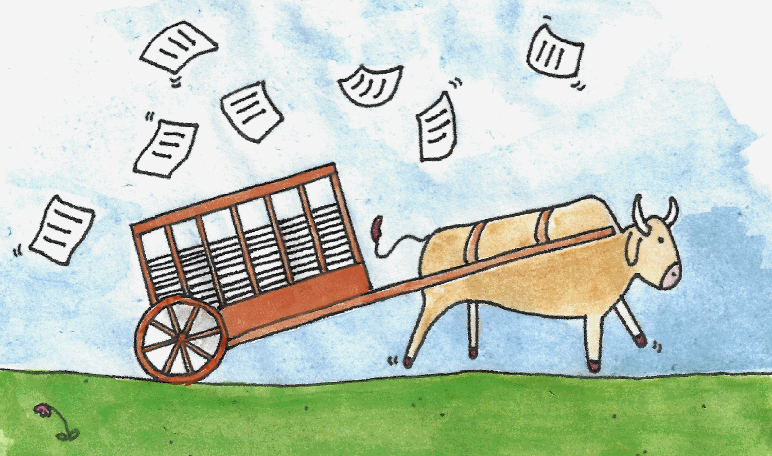 A watercolour painting of an ox cart full of documents, with documents up in the air.