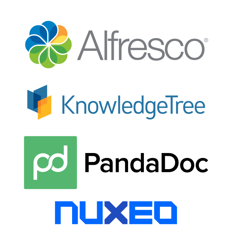 Examples of DMS providers ActiveDocs integrates with: Alfresco, KnoweldgeTree, PandaDoc, Nuxeo.