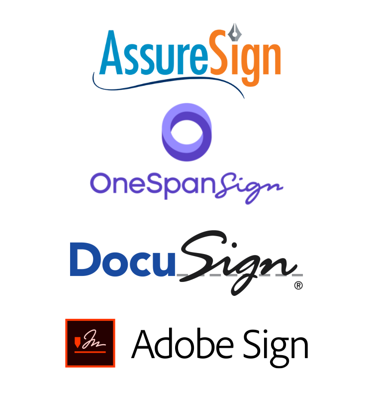 Examples of e-signature providers ActiveDocs can integrate with: AssureSign, OneSpan Sign, DocuSign, AdobeSign.