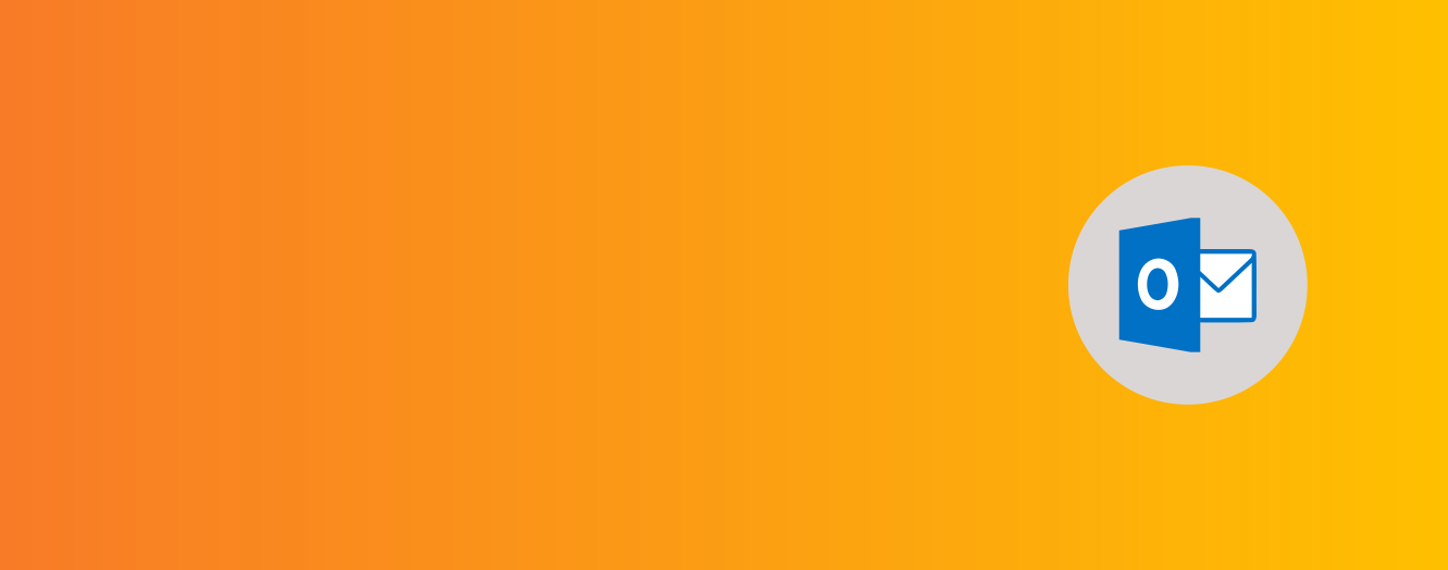Organge to yellow gradient banner with Microsoft Outlook icon.