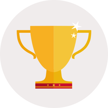 Shiny gold trophy icon
