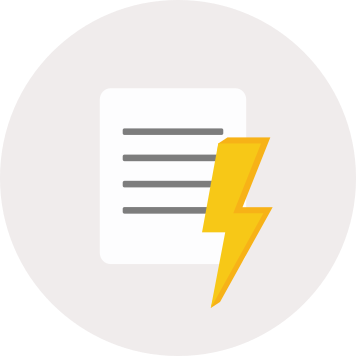 Document with lighning bolt icon