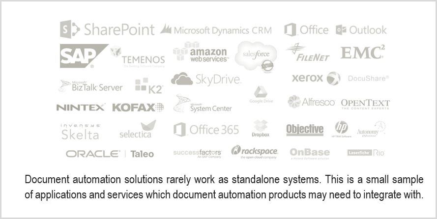 Document automation solutions rarely work as standalone systems. This is a small sample of applications and services which document automation products may need to integrate with.