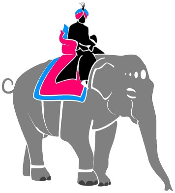 PCartoon of a person riding an elephant.