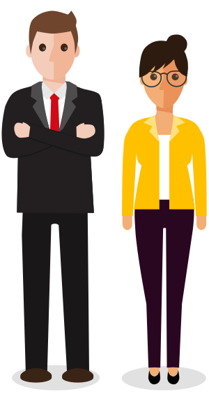 Graphic of two people in business clothes