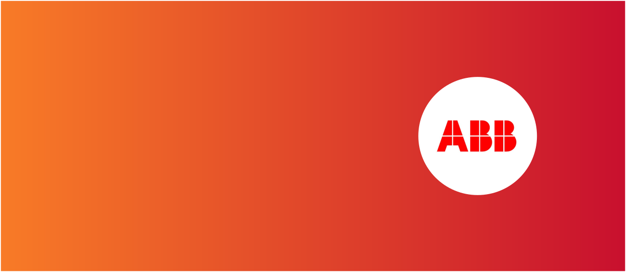 Orange and red background with ABB logo
