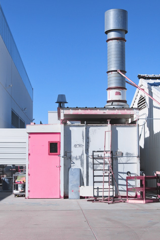 Power plant with a pink door