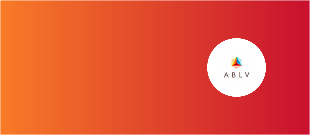 Orange and red background with ABLV Bank logo