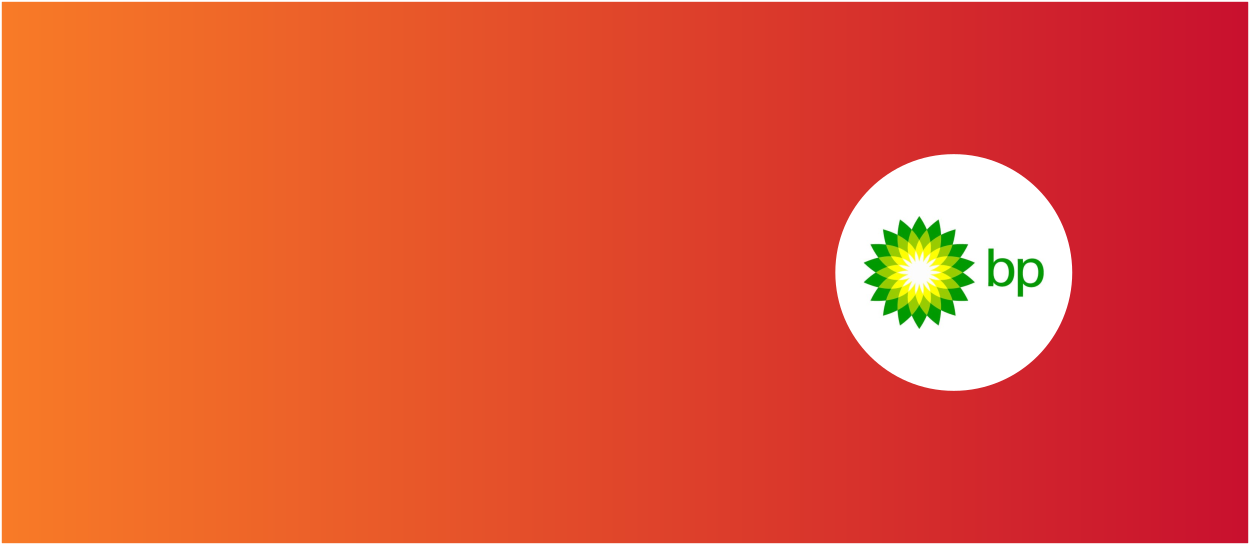 Orange and red background with BP International logo