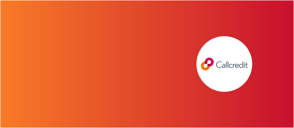 Orange and red background with Callcredit Group logo