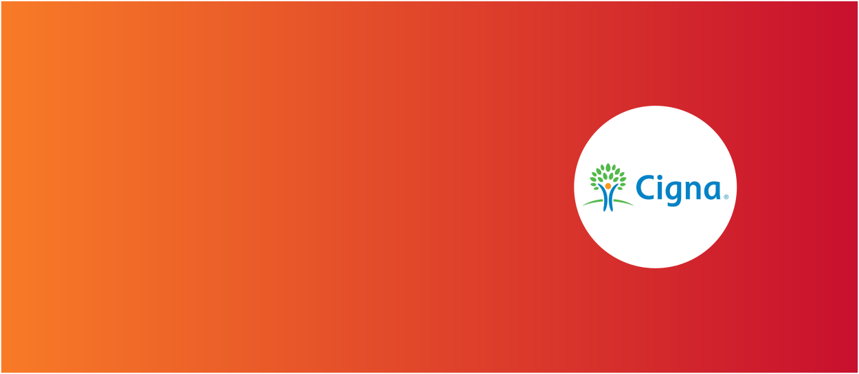 Orange and red background with Cigna Life Insurance logo