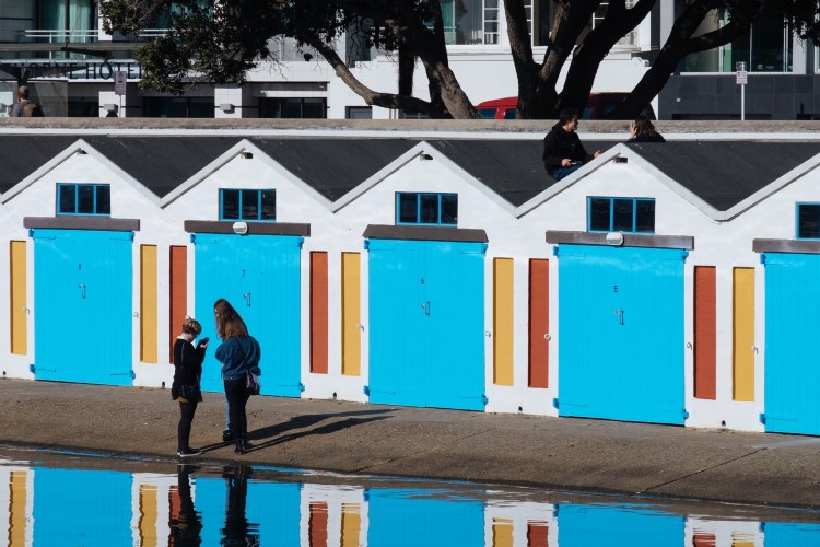 Colorful boathouses in Wellington