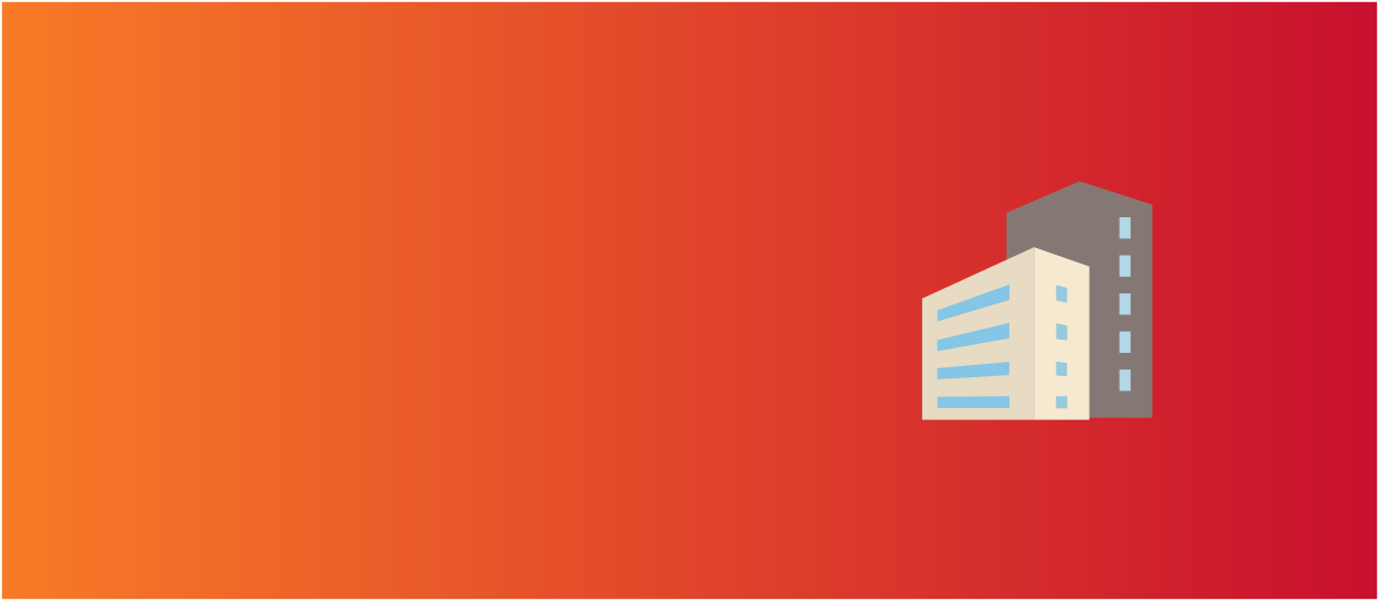 Orange and red background with a commercial building icon