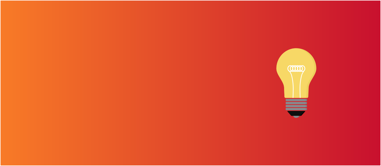 Orange and red background with a yellow lightbulb