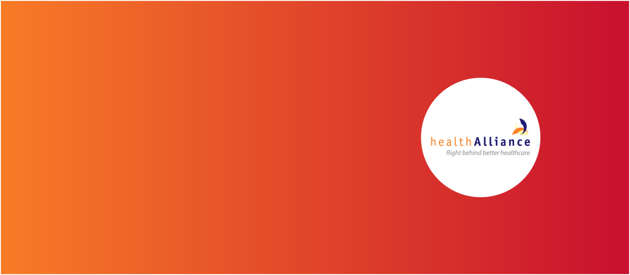 Orange and red background with healthAlliance logo