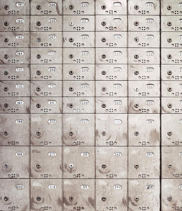 Numbered safety deposit boxes