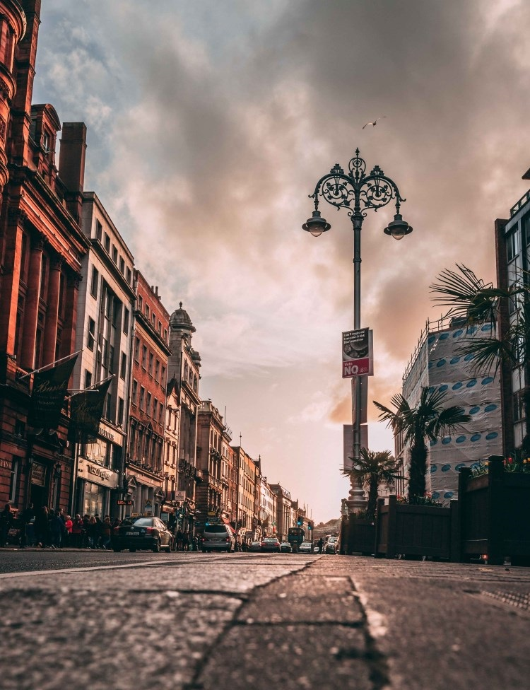Dublin street at sunset