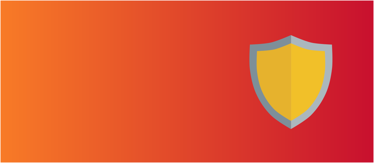 Orange and red background with a gold shield icon