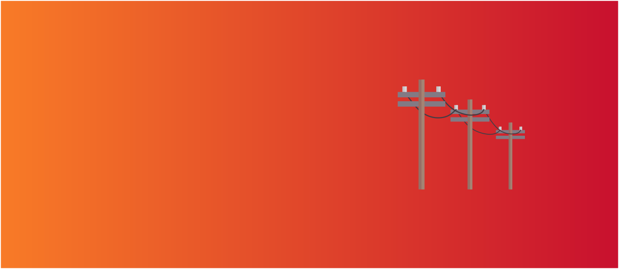 Orange and red background with a series of power poles