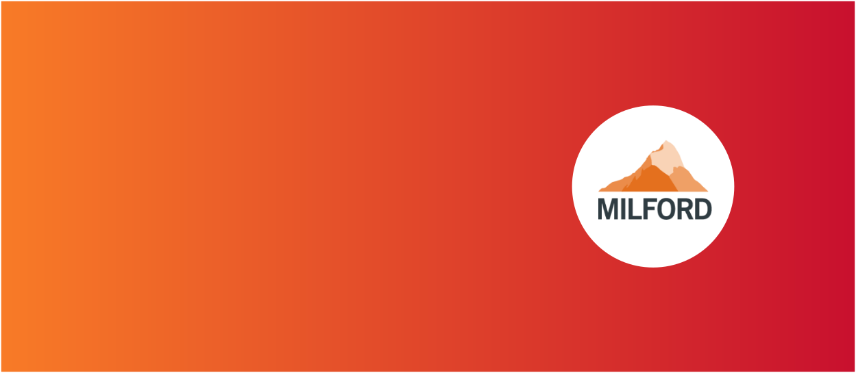 Orange and red background with Milford Asset Management logo