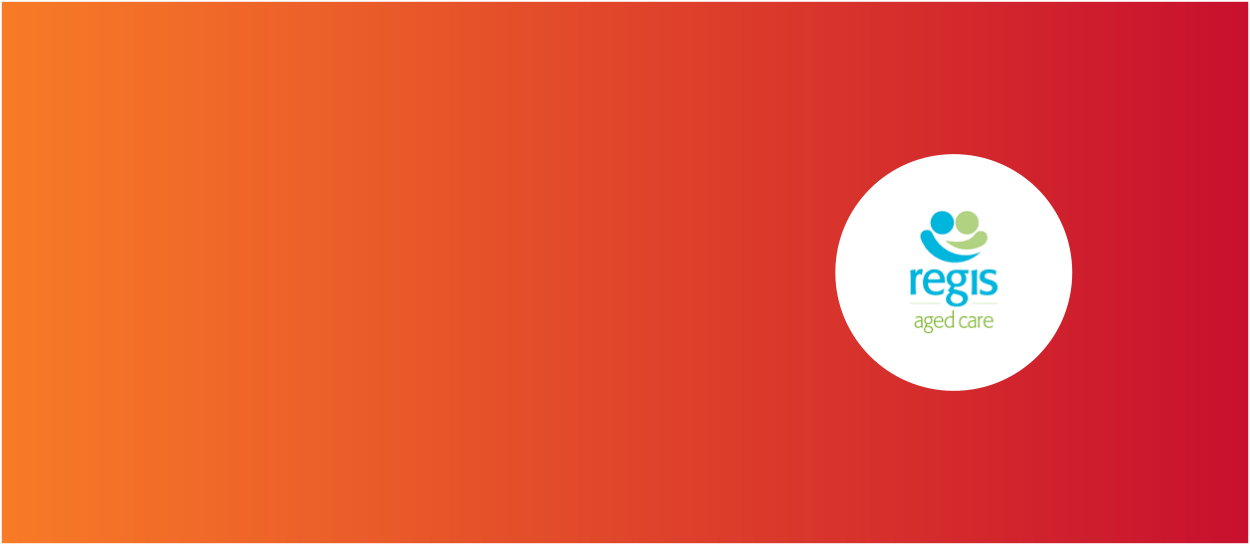 Orange and red background with Regis Aged Care logo