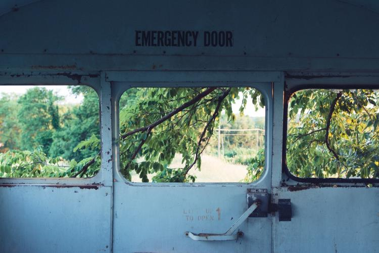 Blue emergency door