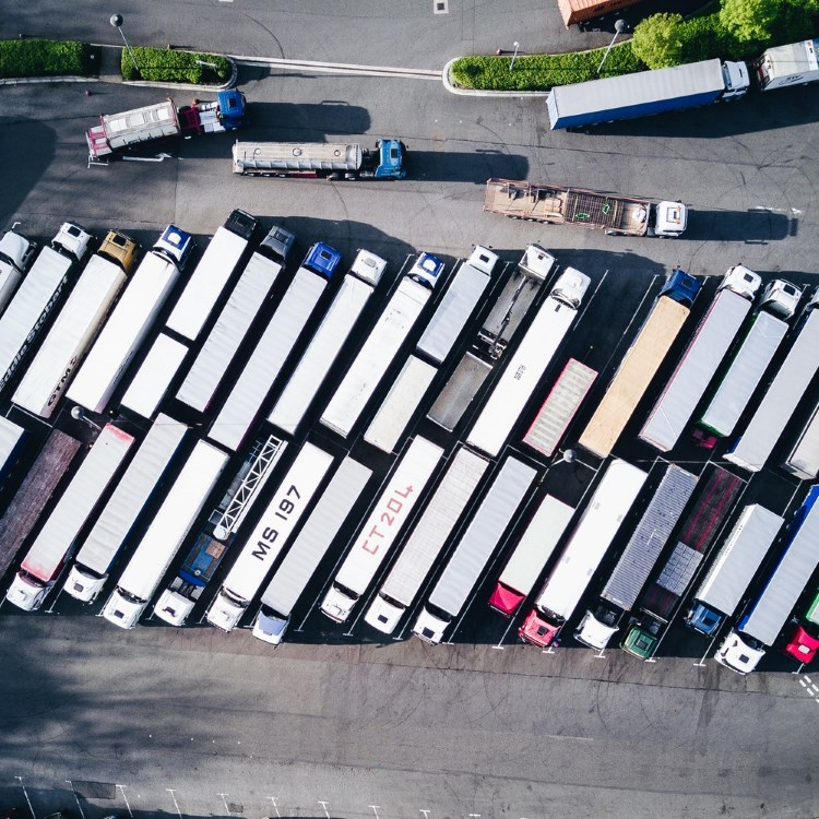 Aerial view of trucks on a parking lot