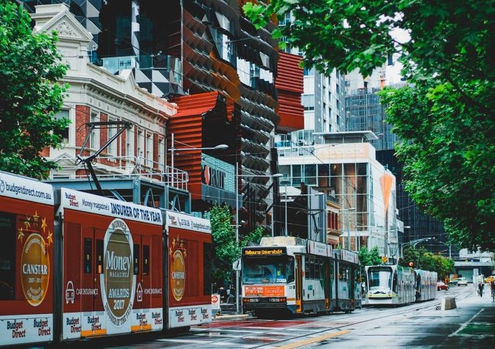 Melbourne streetscape with a tram