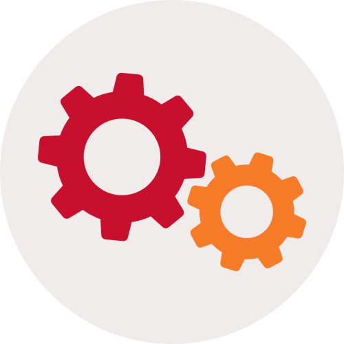 Orange and red cogs icon