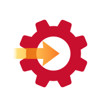 Icon of a red cog, with an orange arrow coming towards it.