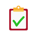 Icon of a red clipboard with a green checkmark.