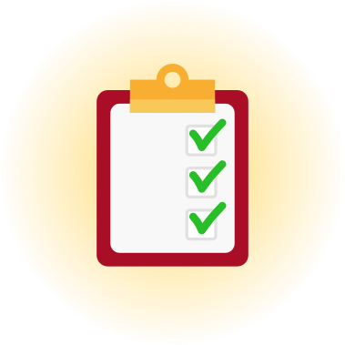 Icon of a red clipboard with three checked checkboxes, against a glowy golden background.