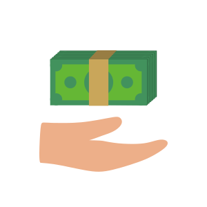 Icon of a person's hand holding up a neat stack of green dollar bills.