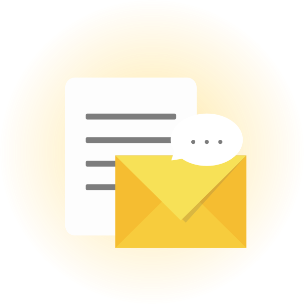 Icon of a document, a yellow envelope, and a chat bubble, on a glowy gold background.