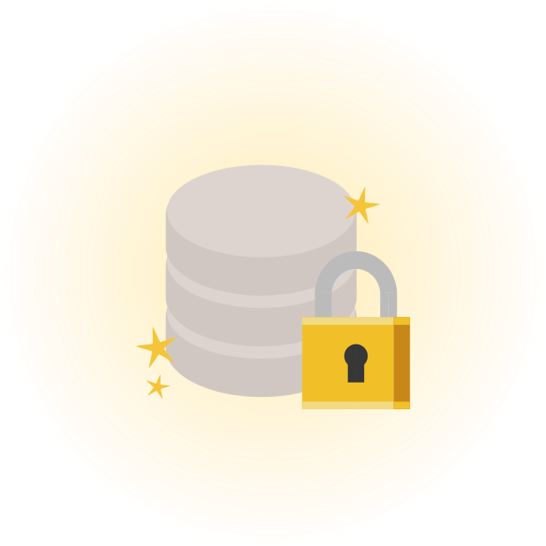 Icon of a database and a padlock, with a glowy golden background.