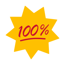 Icon of a yellow starburst with the red sign saying 100%.