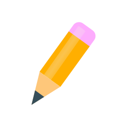 Icon of a yellow pencil with a pink eraser.