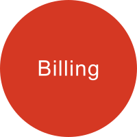 Orange-red circle with the term BILLING