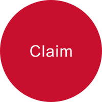 Red circle with the term CLAIM
