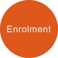 Orange circle with the term ENROLMENT