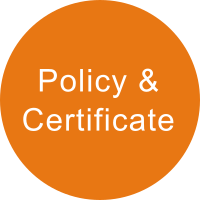 Light orange circle with the term POLICY & CERTIFICATE