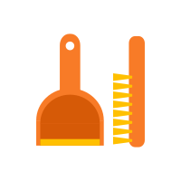 Icon of an orange dustpan and brush