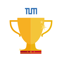 Technical University of Munich logo above a shiny golden trophy icon